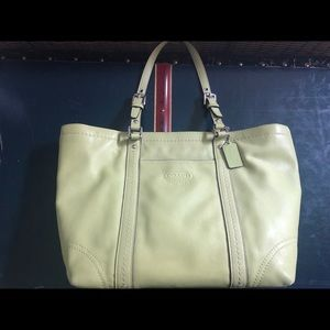 Green Coach leather tote bag